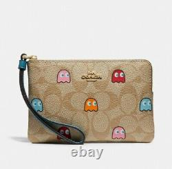 Coach X PAC-MAN Corner Zip Wristlet In Signature Canvas With Ghosts Print