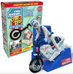 LIMITED EDITION Variant Evel Knievel Stunt Cycle White Trail Bike 70's Daredevil