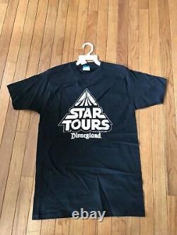 NWT 1986 Star Wars Star Tours Vintage T-shirt Disney Character Fashion Made USA