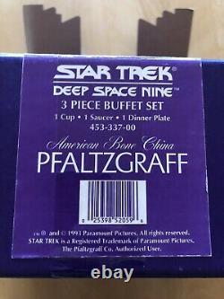 Star Trek DS9 Pfaltzgraff Bone China 3-Piece Buffet Set #ed Deep Space Nine