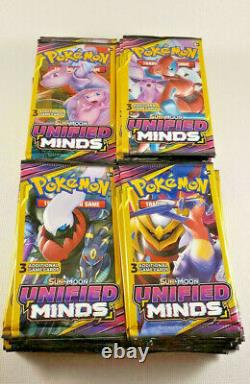(100) Pokemon Sun & Moon Unified Minds 3 Cartes Packs Dollar Tree Non Ouvert Scellé