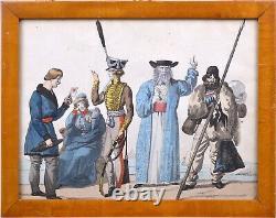 Guerres Napoléoniennes C 1814 Personnages D'officiers Russes Par L'artiste Français Scarce