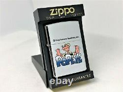 Nouveau Zippo 1994 Edition Limitée Popeye Caractère Imprimer Cartoon Lighter Argent