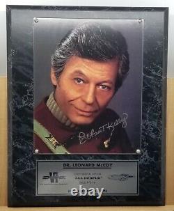 Star Trek Plaque D'édition Limitée Dr. Leonard Mccoy Deforest Kelley Signé Coa