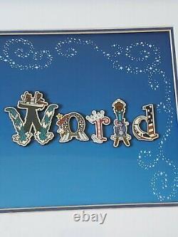 Walt Disney World 15 Pin Set Lettres Avec Caractère Limité Edition Encadrée 2010